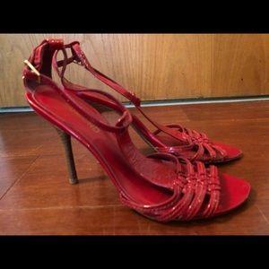 Dumond red sandals heel size 9